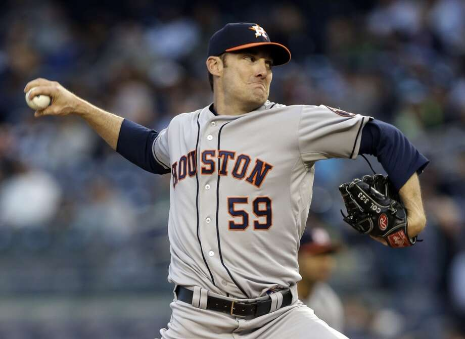 Philip Humber of the Astros delivers a pitch against the Yankees during the first inning. Photo: Kathy Willens, Associated Press