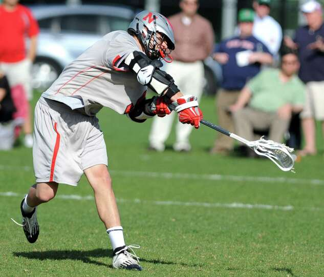 Niskayuna's Luke Goldstock scores during a lacrosse game against Shaker on Tuesday, April 30, 2013 i