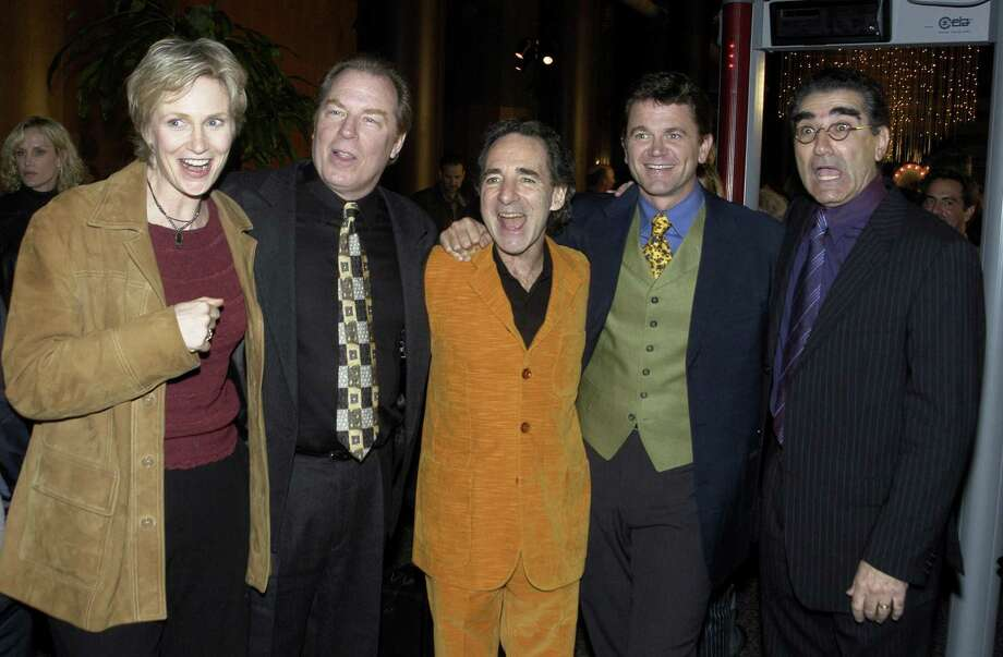 Jane Lynch, aka Cindi Lightballoon, pictured in 2003 with Michael McKean, Harry Shearer, John Michael Higgins and Eugene Levy. Photo: Steve Grayson, Getty Images / 2003 Wireimage