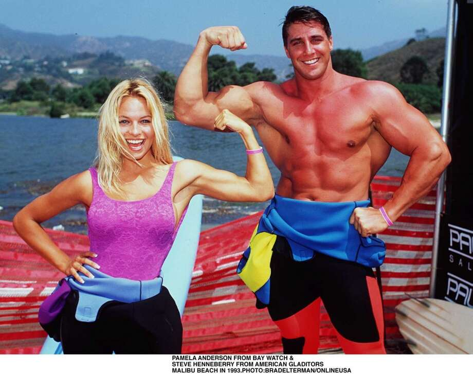 Pamela Anderson in 1993, with Steve Henneberry, of the show \'\'Gladiators.\'\'