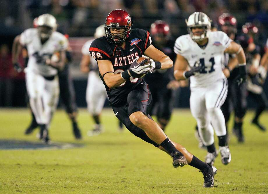 Cowboys draftee Gavin Escobar, who was a junior in 2012, caught 122 passes for 1,646 yards and 17 touchdowns during his career at San Diego State. Photo: Getty Images