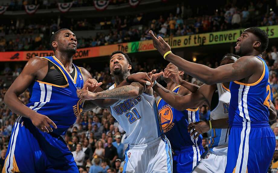 DENVER, CO - APRIL 30:  Festus Ezeli #31 of the Golden State Warriors, Wilson Chandler #21 of the Denver Nuggets, Harrison Barnes #40 of the Golden State Warriors, Kenneth Faried #35 of the Denver Nuggets and Draymond Green #23 of the Golden State Warriors battle for rebounding position during Game Five of the Western Conference Quarterfinals of the 2013 NBA Playoffs at the Pepsi Center on April 30, 2013 in Denver, Colorado. The Nuggets defeated the Warriors 107-100. NOTE TO USER: User expressly acknowledges and agrees that, by downloading and or using this photograph, User is consenting to the terms and conditions of the Getty Images License Agreement.  (Photo by Doug Pensinger/Getty Images) Photo: Doug Pensinger, Getty Images