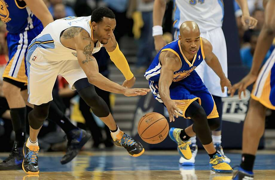 DENVER, CO - APRIL 30:  Andre Iguodala #9 of the Denver Nuggets and Jarrett Jack #2 of the Golden State Warriors vie for a loose ball during Game Five of the Western Conference Quarterfinals of the 2013 NBA Playoffs at the Pepsi Center on April 30, 2013 in Denver, Colorado. The Nuggets defeated the Warriors 107-100. NOTE TO USER: User expressly acknowledges and agrees that, by downloading and or using this photograph, User is consenting to the terms and conditions of the Getty Images License Agreement.  (Photo by Doug Pensinger/Getty Images) Photo: Doug Pensinger, Getty Images