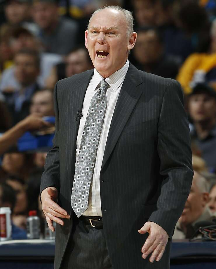 Denver Nuggets head coach George Karl directs his team against the Golden State Warriors during the first quarter of Game 5 of their first-round NBA basketball playoff series, Tuesday, April 30, 2013, in Denver. (AP Photo/David Zalubowski) Photo: David Zalubowski, Associated Press