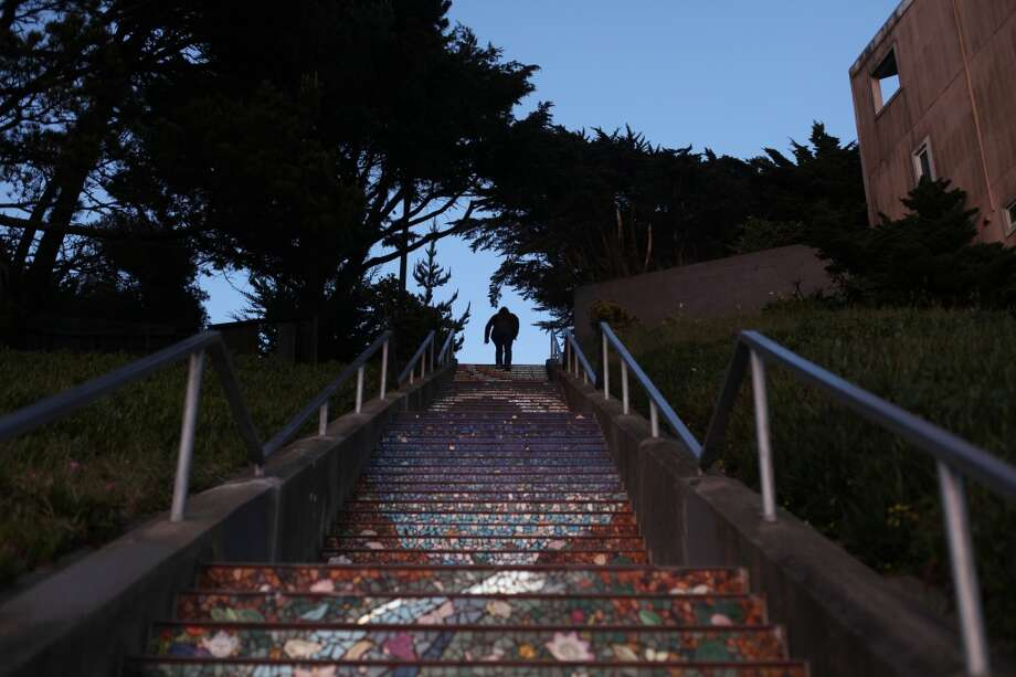 A person ascends the Moraga Steps on April 18, 2013 in the Golden Gate Heights neighborhood of San Francisco, Calif.