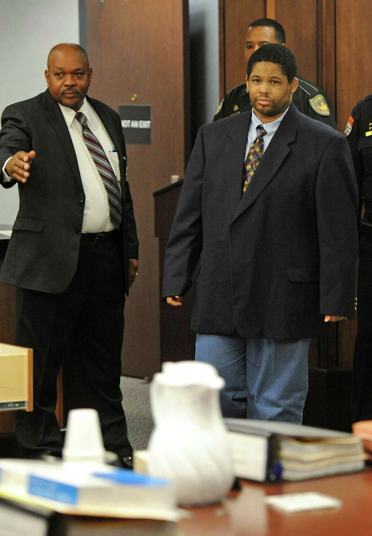 Bartholomew Granger enters the Galveston County courtroom shortly before closing arguments on Tuesday. After the arguments the jury was excused to deliberate on capital charges for the shooting death of Minnie Ray Sebolt. Guiseppe Barranco/The Enteprise