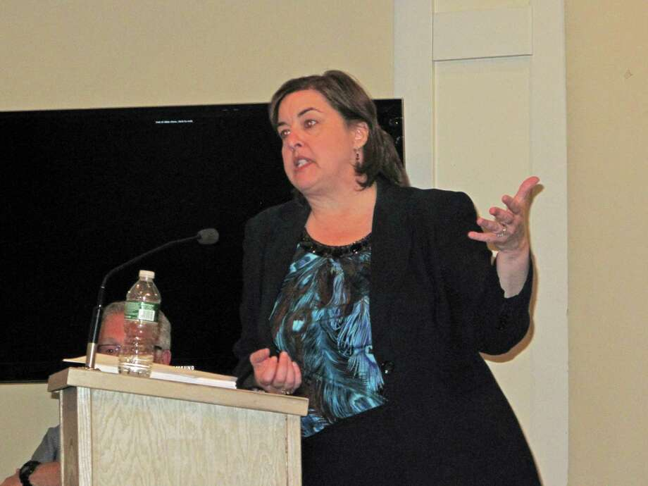 Accountant Marcia Marien of the firm O'Connor Davies, LLP, gives a presentation of the town's 2011-2012 audit to the Town Council Tuesday, April 30, 2013 at the New Canaan Nature Center. Photo: Tyler Woods