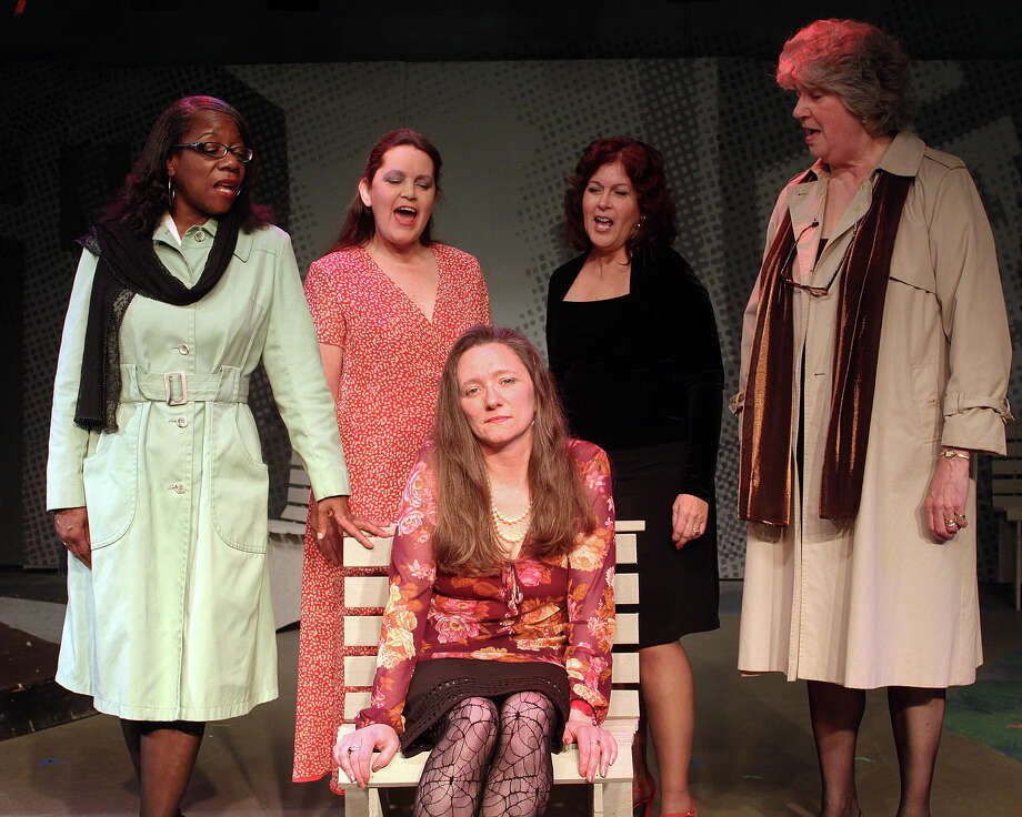 "The cast of The Oldest Profession."" Standing: Marva Ray, Joan Justice, Andrea Valenti and Margaret King. Sitting: Juliet_King.(Albany Civic Theater)"