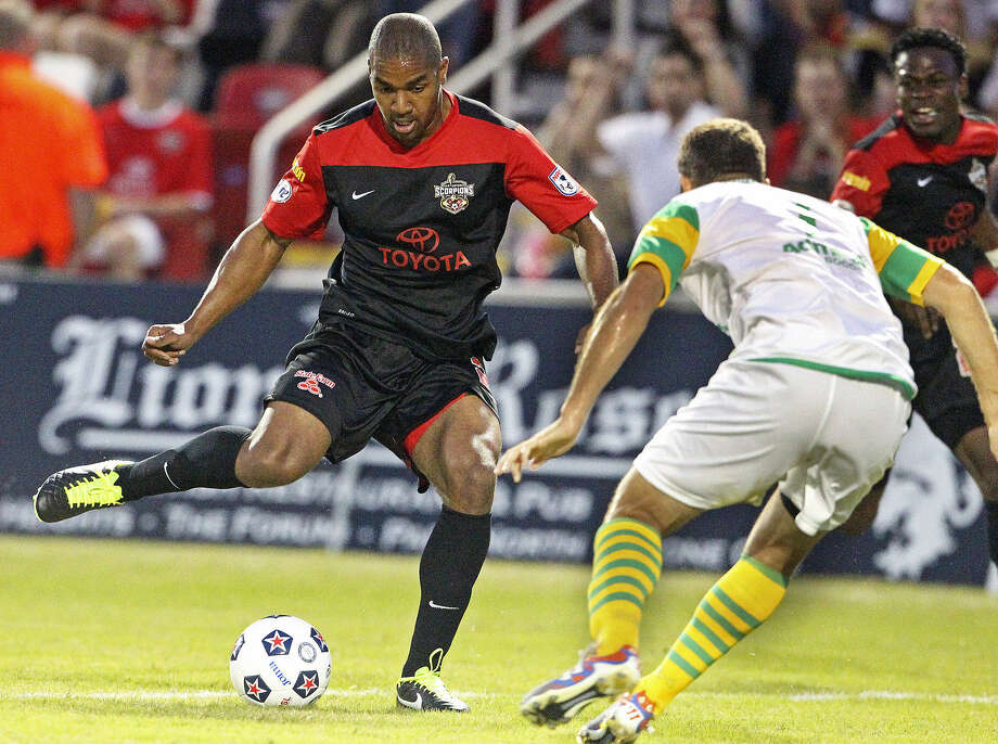 Lyle Martin takes a shot for the San Antonio Scorpions at Toyota Field on April 13. The team's home games will be broadcast locally. Photo: Tom Reel / San Antonio Express-News