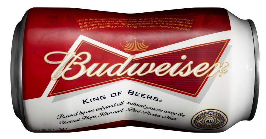 The new bowtie-shaped aluminum cans of Budweiser are due to hit store shelves on Monday, May 6.
