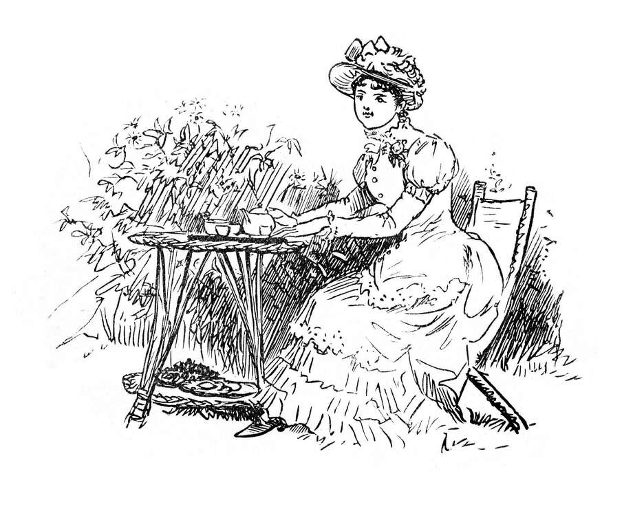 Above is a vintage engraving from 1883 of a young lady drinking tea in the garden. Photo: Contributed Photo