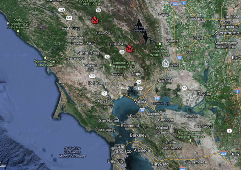 This map created by CAL FIRE provides general locations of major fires burning in California. The fires locations are approximates. Photo: Google Maps
