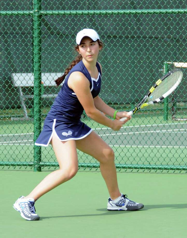 Sophomore Avery Wolfe, pictured, teamed with senior Kyja Kutnick at No. 1 doubles to lift Greens Farms Academy's girls tennis team to a 6-0, 6-0 win against Westover on April 26. Photo: Contributed Photo / Norwalk Citizen