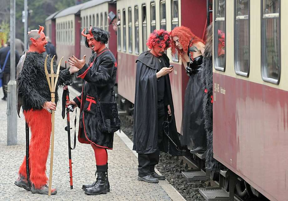 Commuting by train is hellin Schierke, Germany, at least on Walpurgis Night. Walpurgis Night, a traditional religious holiday of pre-Christian origins, is named after St. Walburga, an English nun who helped convert the Germans to Christianity in the 8th century. Photo: Jens Meyer, Associated Press