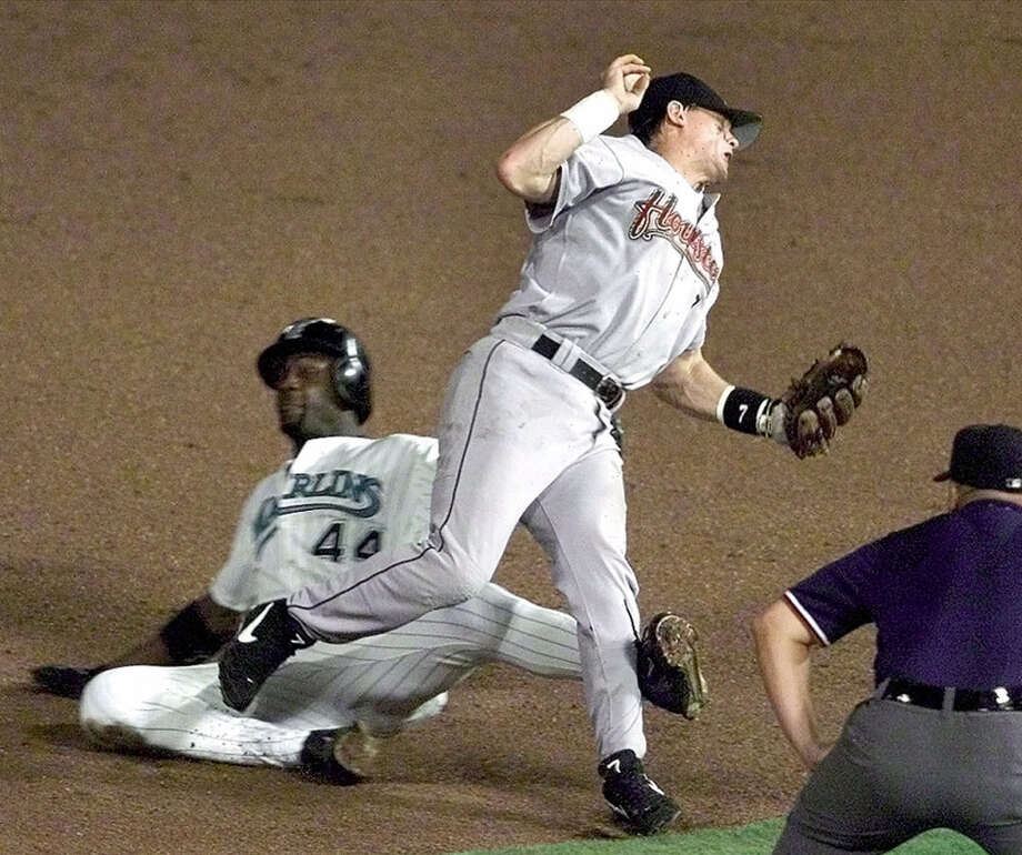 Biggio had never gone on the disabled list in his first 13 seasons. But a collision with Preston Wilson of the Marlins cut his year short on Aug. 1, 2000 with a season-ending knee injury. Photo: Robert Mayer, AP Photo/Fort Lauderdale Sun Sentinel
