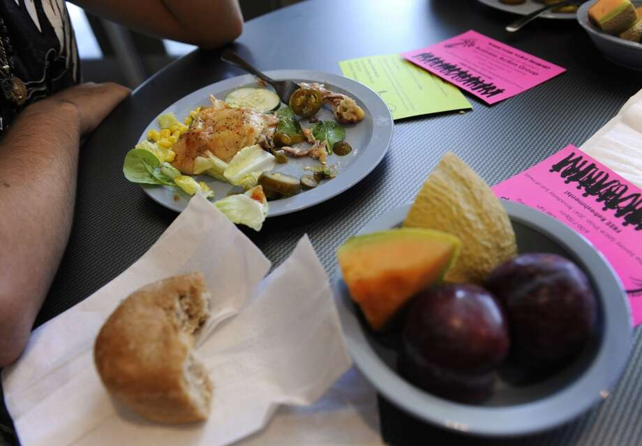 The menu options at the Arapahoe Campus High School cafeteria on this day include roasted chicken, roasted potatoes, along with a fresh salad bar that included whole grain bread and fresh fruit. In 2010.