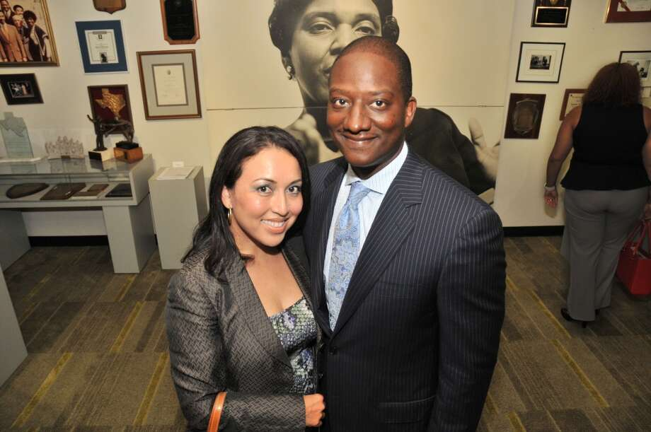 Diana Espitia and Derrick Mitchell at a VIP reception for Viola Davis at the Barbara Jordan Archives at the Robert Terry Library at Texas Southern University.