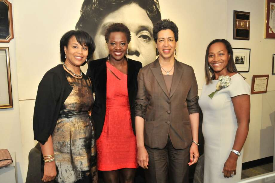 Eileen Lawal, Viola Davis, Docia Rudley, Anita Smith at a VIP reception for Viola Davis at the Barbara Jordan Archives at the Robert Terry Library at Texas Southern University.