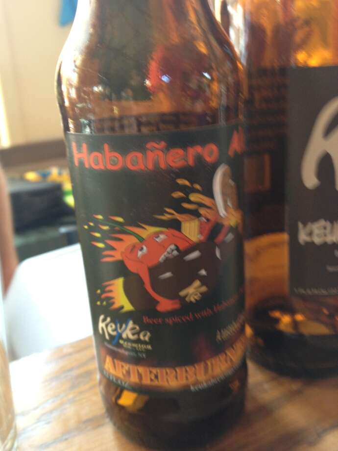 "Keyuka's ""Afterburner"" - a blonde ale made with habanero peppers. Not nearly as intense as you'd think. Surprisingly drinkable (and only ~2.5% ABV!)"