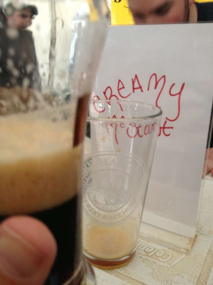 "John Harvard Brewhouse's ""Creamy McStout"" - Guinness plus cream soda. Good dessert beer."