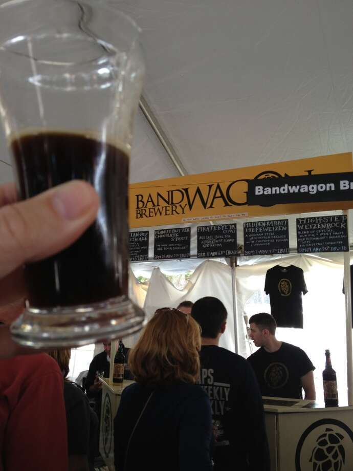 "Bandwagon Brewery's ""Peanut Butter Chocolate Stout."" Robust and tasty at first, but fades fast."