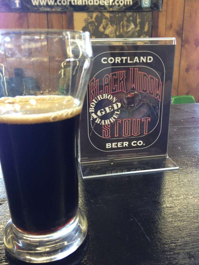"Cortland Brewing's ""Black Widow Stout"" aged in bourbon barrels - another beast! A tasty beast, though."