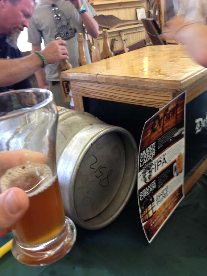 "Defiant Brewing's ""Big Thumper"" on cask. Imagine a barleywine that tastes like root beer."