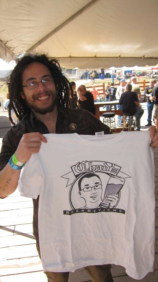 "Scott Veltman, a brewer at Ommegang, showing off his new ""Chad'z Beer Reviews"" t-shirt!"