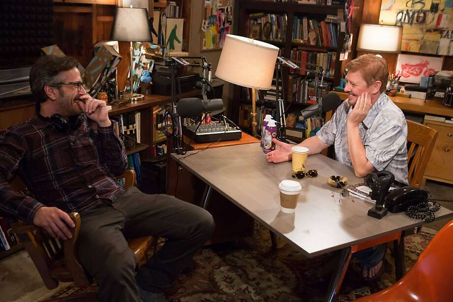 "In the premiere episode of ""Maron,"" podcast comic Marc Maron (left) gets some help from guest Dave Foley to chase down a ""Dungeons & Dragons"" aficionado. Photo: Chris Ragazzo, IFC"