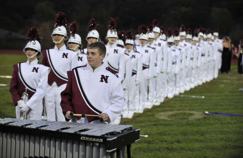 No. 14: Between the years of 1960 and 2010, the town of Naugatuck grew by 63 percent, from 19,511 people to 31,862.  Austin Anderson plays the xylophone as the rest of the Naugatuck High School marching band members perform at the annual Quest for the Best marching band and color guard competition at Bethel High School on Saturday, Oct. 13, 2012.