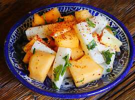 Jicama salad to go with pork tenderloin platter for Cinco de Mayo. Recipes from Jacqueline Higuera McMahan. South to North column May 5, 2013.
