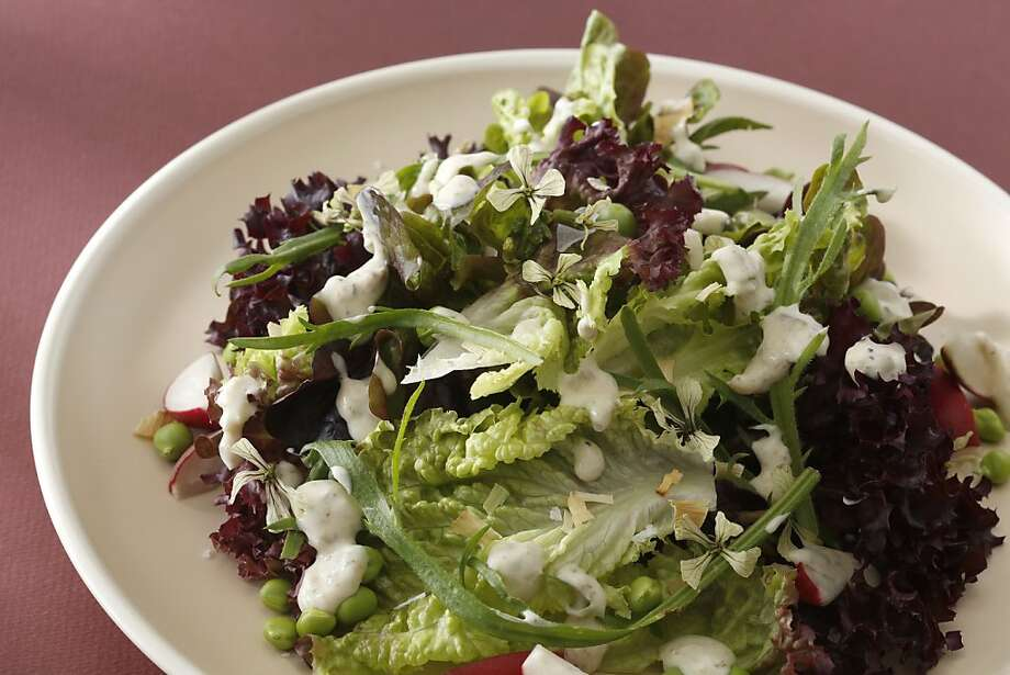 Baby Lettuces With Peas, Radishes & Creamy Roasted Onion Dressing Photo: Craig Lee, Special To The Chronicle