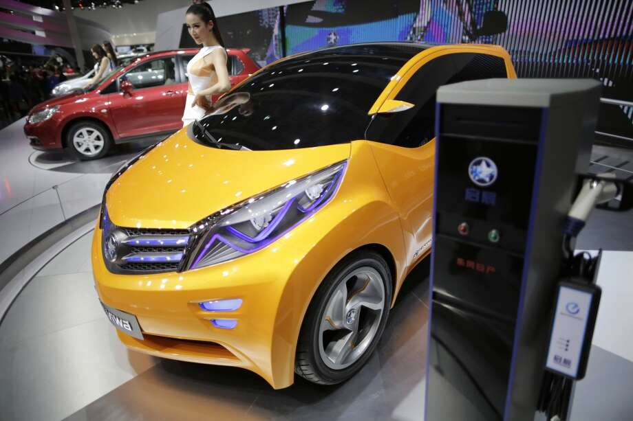 The Venucia Viwa concept EV is displayed at the Shanghai International Automobile Industry Exhibition (AUTO Shanghai) in Shanghai, China, Wednesday, April 24, 2013. (AP Photo/Eugene Hoshiko)