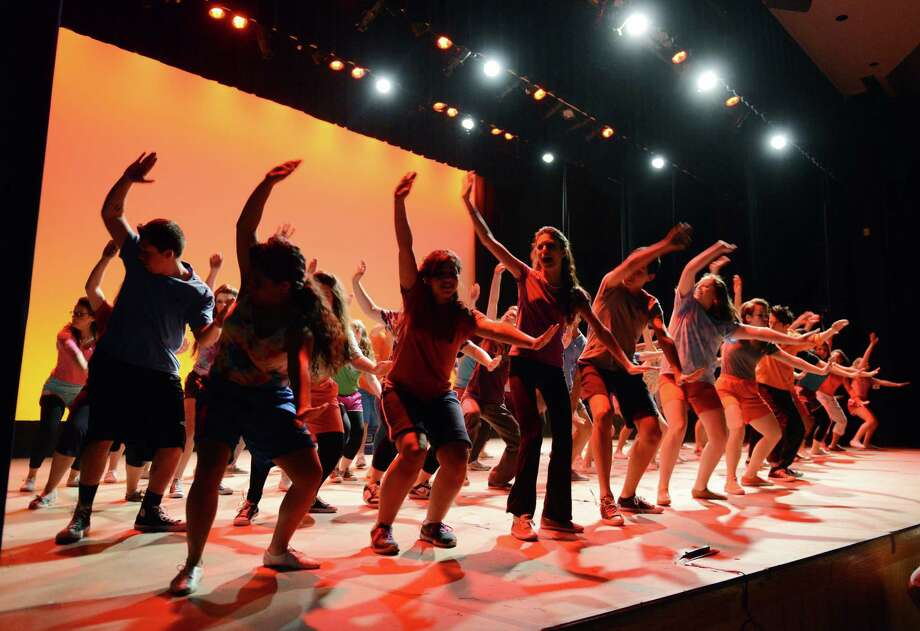 "The cast performs during the dress rehearsal of ""Footloose"" at Danbury High School in Danbury, Conn. on Tuesday, April 30, 2013.  Showtimes are Thursday at 7 p.m., and Friday and Saturday at 7:30 p.m. Photo: Tyler Sizemore / The News-Times"