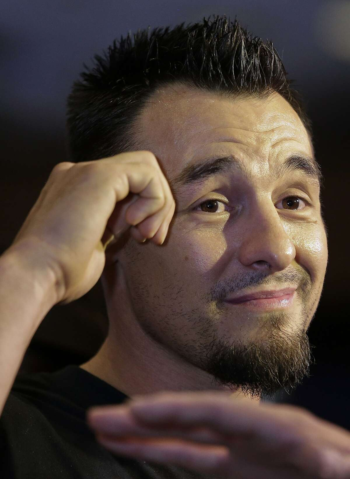Robert Guerrero answers questions for boxing fans and reporters at the MGM Grand Hotel and Casino, Tuesday, April 30, 2013, in Las Vegas. Guerrero will fight Floyd Mayweather Jr. for the WBC world welterweight championship on Saturday. (AP Photo/Julie Jacobson)