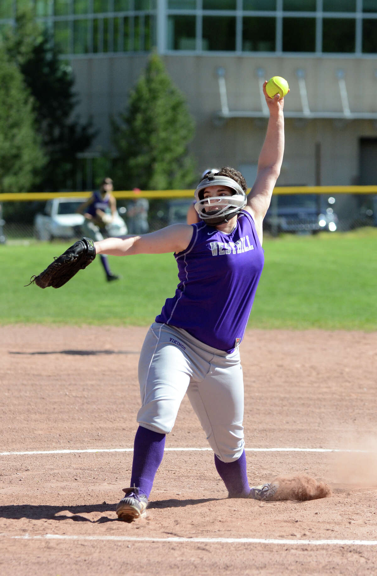 Westhill's Sadie Rose Apfel (25) throws out a pitch during the softball game against Stamford at Westhill High School in Stamford on Wednesday, May 1, 2013.