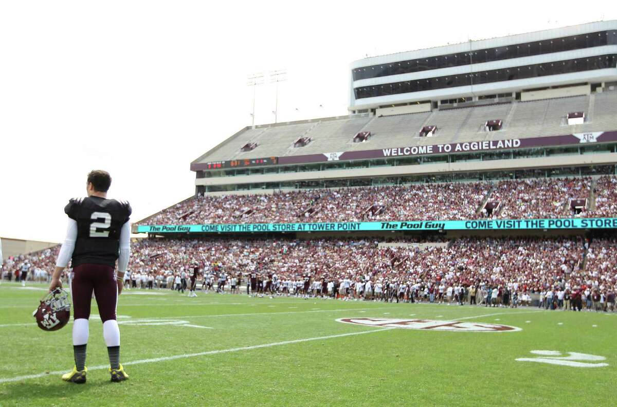 Texas A&M quarterback Johnny Manziel (2) on the sideline during the first half of the Aggies' Maroon & White spring game at Kyle Field, on April 13, 2013, in College Station.