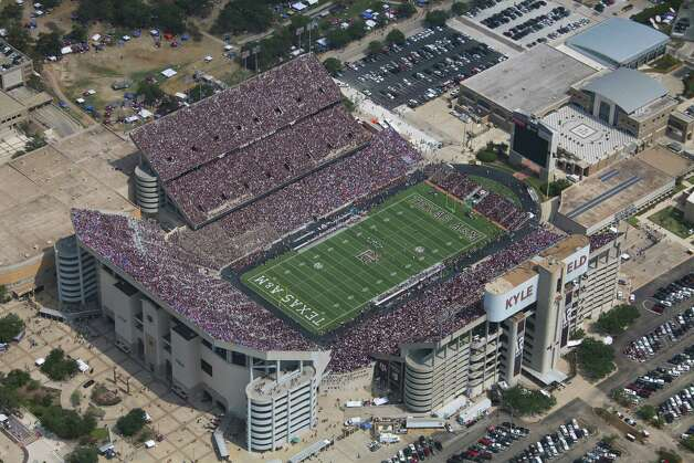 An aerial view of Kyle Field during a game between the Florida Gators and the Texas A&M Aggies on Sept. 8, 2012, in College Station. Photo: Kevin Butts, Replay Photos Via Getty Images / 2012 Replay Photos
