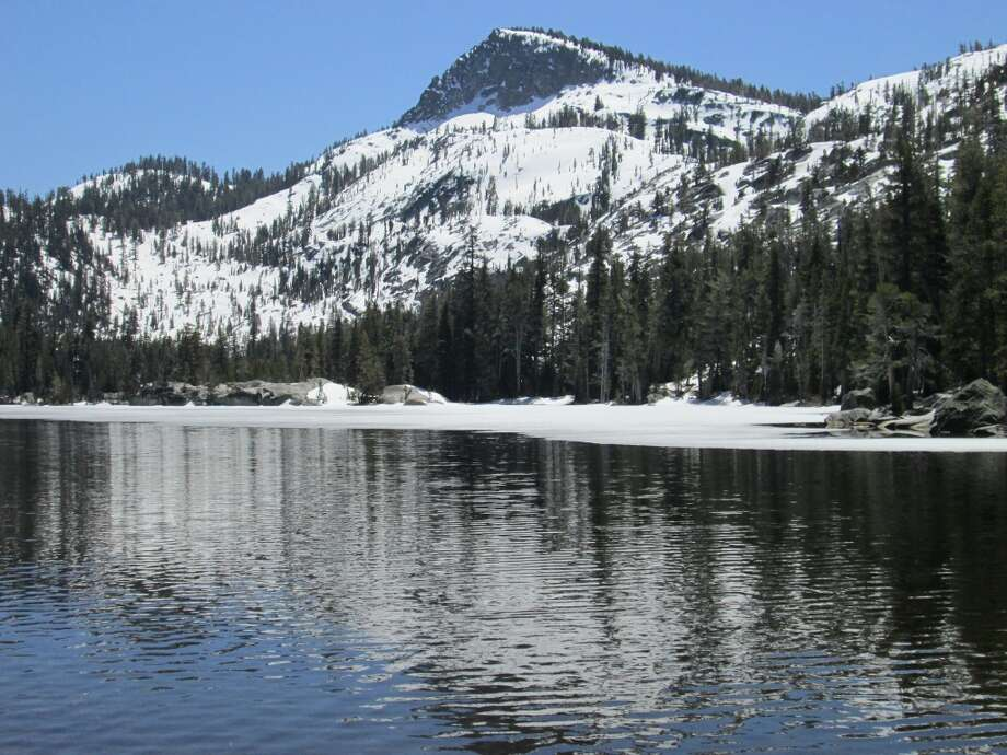 Crag Lake at ice-out as spring arrives to Tahoe's Desolation Wilderness