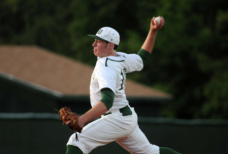 The Woodlands' Chris Andritsos is a handful on the mound or at the plate. Photo: Jerry Baker, Freelance