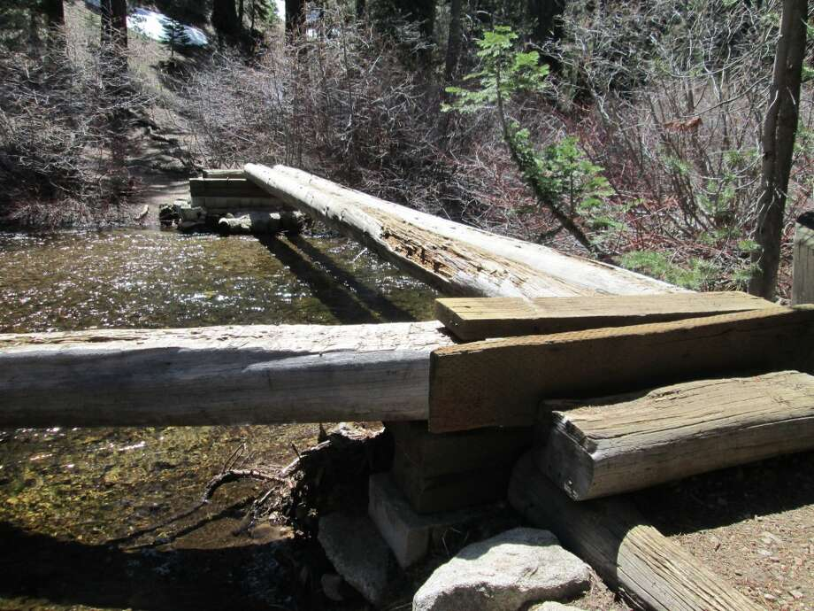 You cross this log bridge for the final push