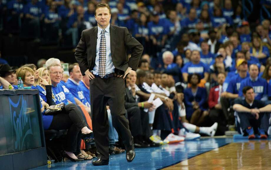 "Thunder coach Scott Brooks developed his frenetic style as a point guard on the Rockets' 1994 championship team. ""He was a pest,"" said ex-teammate Matt Bullard. Photo: Smiley N. Pool, Staff / © 2013  Houston Chronicle"