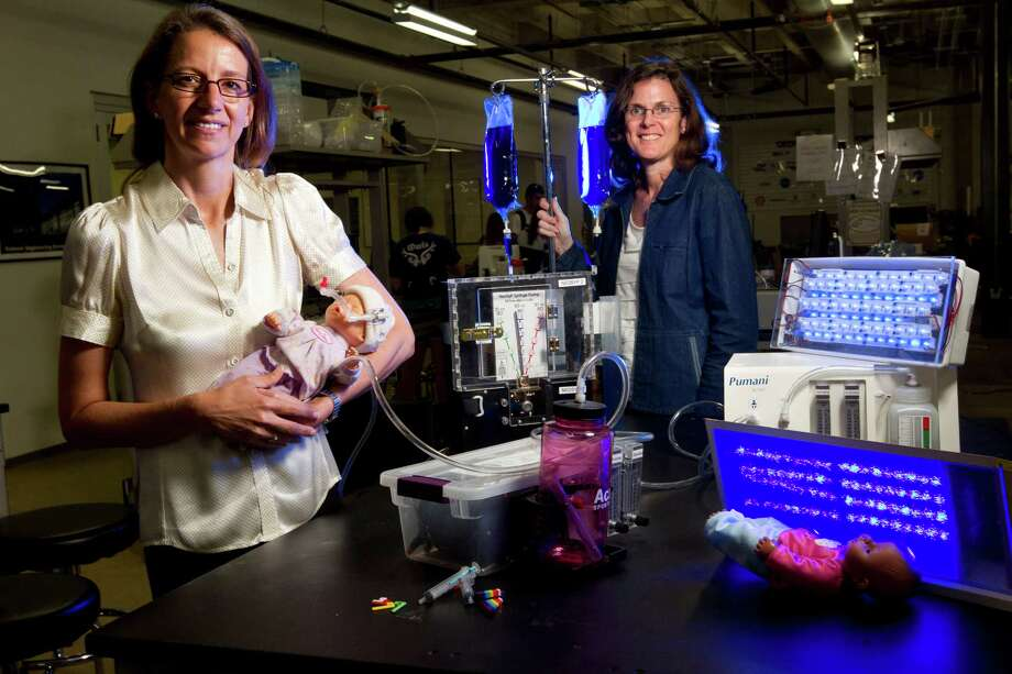 Pictured with medical innovations, created by Rice students in the Oshman Engineering Design Kitchen, are professors Rebecca Richards-Kortum, left, and Maria Oden, winners of this year's $100,000 Lemelson-MIT Award for Global Innovation. Photo: Johnny Hanson, Staff / © 2013  Houston Chronicle