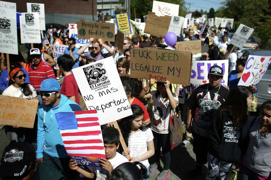 Marchers kickoff an immigrant rights May Day rally and march near Judkins Park. Photo: JOSHUA TRUJILLO, SEATTLEPI.COM / SEATTLEPI.COM