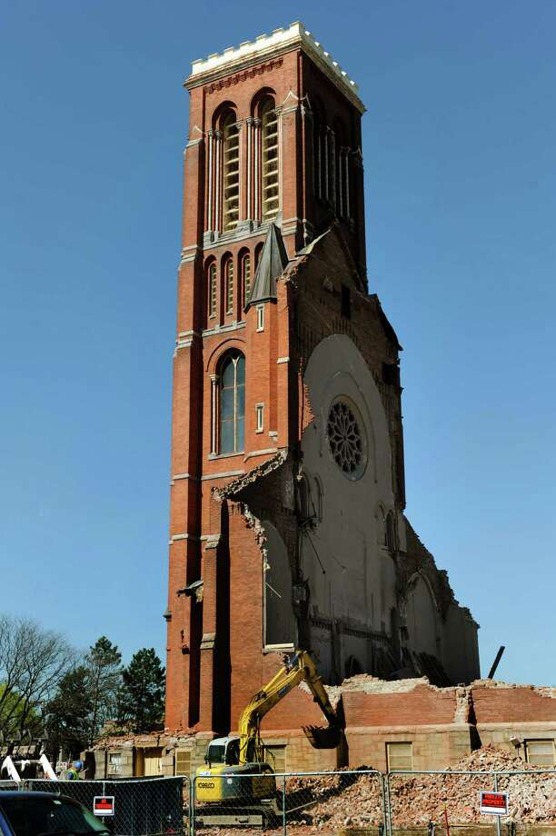 Only the bell tower remains of St. Patrick's Roman Catholic Church on Wednesday, May 1, 2013, in Watervliet, N.Y. (Cindy Schultz / Times Union) Photo: Cindy Schultz / 10022220A