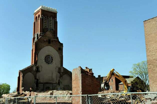 Only the bell tower remains of St. Patrick's Roman Catholic Church on Wednesday, May