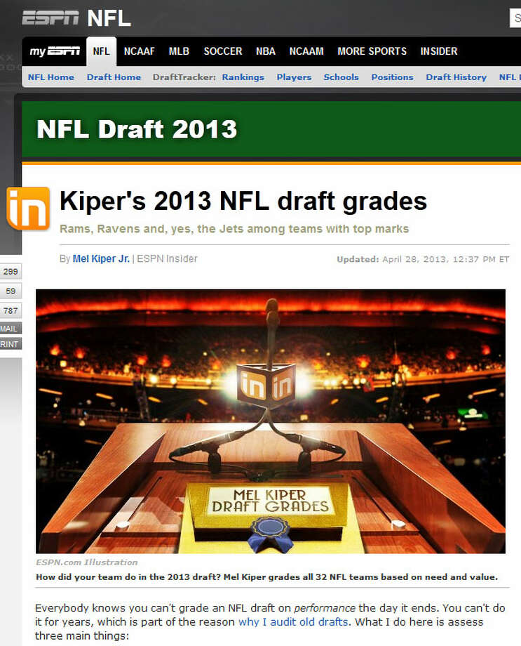 ESPN GRADE: B  If you still listen to Mel Kiper Jr., here's what he said about the Seahawks' draft: ''I don't know that Seattle added a starter among their picks, but they certainly added one in Harvin.''