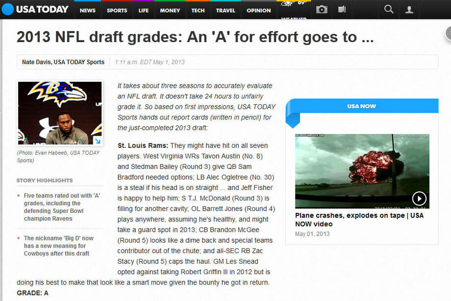 USA TodayGRADE: C+USA Today's Nate Davis admitted that Schneider usually ''ends up looking like the genius at the end of the day,'' but questioned the picks of running back Christine Michael and cornerback Tharold Simon because of their questionable off-the-field behavior. Davis also admitted Seattle had very few draft needs, however.