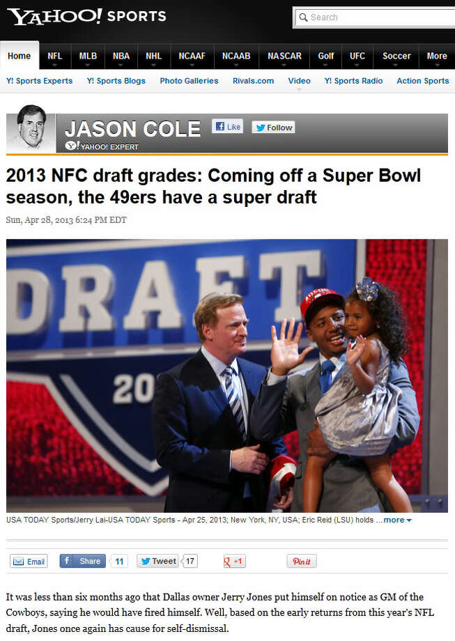 Yahoo Sports GRADE: B  Writer Jason Cole, described as a ''Yahoo expert,'' also factored Percy Harvin into his grade for the Seahawks. ''As for the rest, GM John Schneider did his usual work of finding good value along the way,'' Cole wrote, ''particularly with guys like Michael, who has a nice blend of speed and power, and Williams, who was predicted to go much higher by some.''