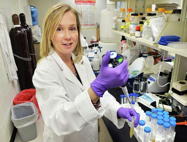 Dr. Kirsi Jarvinen-Seppo in her Albany Medical Center lab where she is doing research on food allergies in Albany, NY Wednesday May 1, 2013.  .(John Carl D'Annibale / Times Union) Photo: John Carl D'Annibale / 10022247A